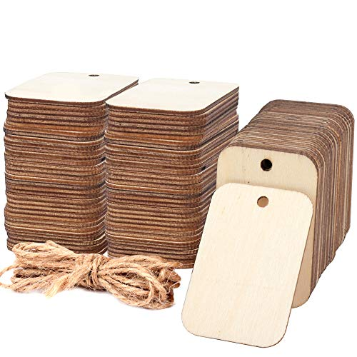 "100 Pcs Unfinished Wood Pieces Rectangle-Shaped, Light Wooden Cutout Natural Rustic with Hole, and 2M Hemp Rope, for Craft Projects, Hanging Decorations, Painting, Staining (2"" x 1.3"")"