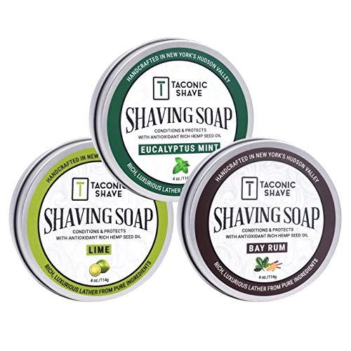 Taconic Shave Friseurladen Qualität 3 Rasierseife Variety Pack - Mit Antioxidans-reiche Hanfsamenöl
