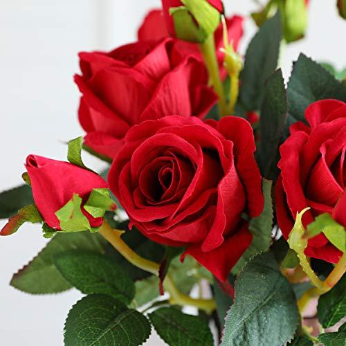 Hawesome 6 Künstliche Rosen Kunstblumen Kunstrosen Flanell rot weiß Rose Dekoration Hochzeit Blumenstrauß Raum Ausgestaltung Blumenarrangement Garten Party Büro Blumenschmuck 18 Rosenköpfe - 7