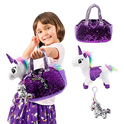 Little Jupiter Plush Pet Set with Purse - Unicorn Toys - Unicorn Stuffed Animal - Pink Elephant Stuffed Animals - Unicorn Gift for Girls (White Unicorn)