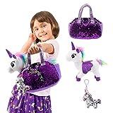 Little Jupiter Plush Pet Set with Purse - Unicorn Toys - Unicorn Stuffed Animal - Pink Elephant Stuffed...