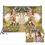 Leowefowa 10x6.5ft Vinyl 1st Birthday Backdrop Fairytale Forest Enchanted Flower Baby Shower Photo Background for Party Photo Shoots Newborn Baby Kids Children Studio Props Photography Backdrops