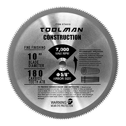 Toolman-Premium Multifunctional Carbide-Tipped Circular Saw Blade Universal Fit 10' 5/8' 180T Table...