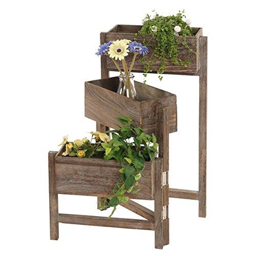 Mendler Pflanzregal, Standregal Blumenständer, Höhe: 65cm Shabby-Look Vintage ~ braun