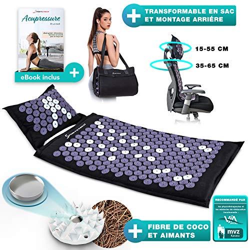 XXL Tapis d'acupression en fibre naturelle avec aimants, sac de transport et de fixation pour chaise, ensemble d'acupression avec oreiller et tapis de massage pour une relaxation agréable