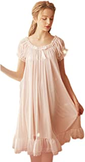 Women's Vintage Nightgowns Nightdress Satin Silk Victorian Sleepwear Bridal Chemises Loungwear Leisure Nighties Pajamas