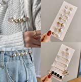 2 Sets Pearl Sweater Shawl Pins, Adjustable Clothes Scarf Rhinestone Lapel Pins, 2021 Trend Pearl Clothing Pins For Women Decoration Dress Pants Buckle Brooches Set (G)