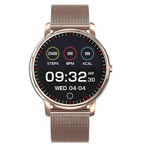 Reloj Inteligente Mujer Hombre,Waterproof Smart Bracelet, Intelligent Monitoring of Blood Pressure, Heart Rate and Sleep-Golden,Pulsera de Actividad Inteligente Reloj Deportivo
