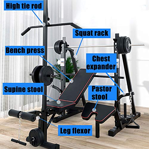Adjustable Weight Bench, Weight Benches for Home, Olympic Weight Bench with Squat Rack, Preacher Curl, Leg Developer, Multi-Purpose Foldable for Home Gym, The Maximum Load Capacity is 770 Lbs