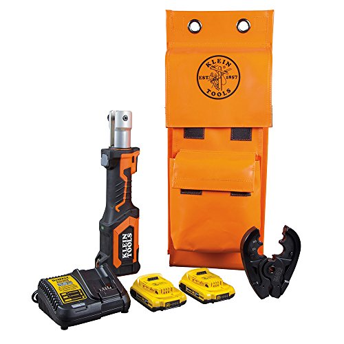Klein Tools BAT207T1 Crimping Tool, Cable Crimper with BG Fixed Die and D3 Groove Head, Runs on 2 Ah DeWALT 20V Batteries
