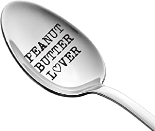 Peanut Butter Lover On a Spoon by Weenca – Sturdy Long Handle Spoon – Simple and Elegant with a Mirror Finish – Long Lasting Inscription