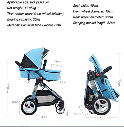 LAMTON Baby Pushchair, Buggy, Pushchairs Baby Stroller with Reversible Bassinet Compact Pushchair Suitable for Children 0-3 Years Old,80x100cm (Color : Blue) LAMTON The adjustable 5-point safety harness has comfortable shoulder pads, The sturdy frame has a wider seat which results in a more comfortable ride for your child The stroller can be easily folded, smaller and more portable; the adjustable backrest angle can be seated or lying down, as well as a large shopping basket and caster ★Carbon steel frame, sturdy, lightweight, durable, easy to store and travel 8