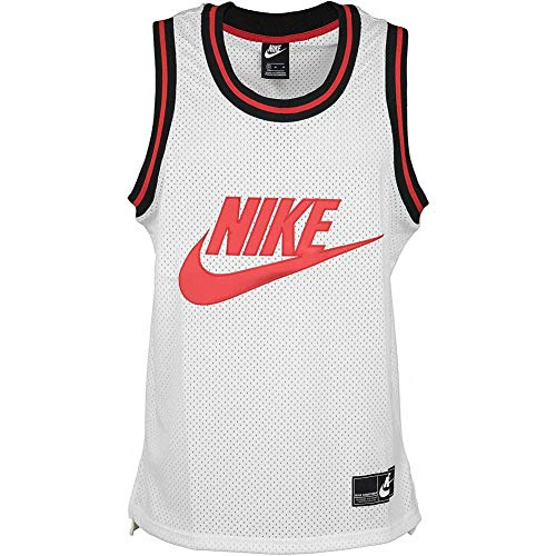 NIKE M NSW Tank Stmt Mesh Top/Singlet, Hombre, White/University Red, S