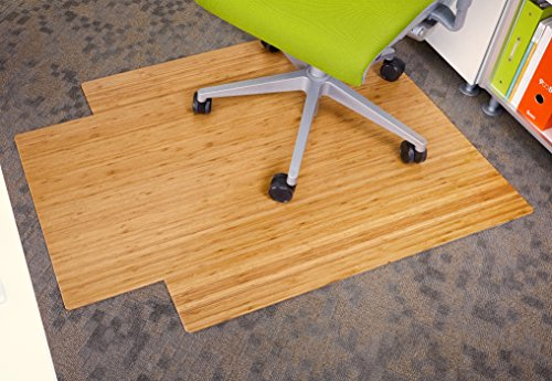 Anji Mountain Bamboo Roll-Up Chair Mat with Lip, Natural, 36 x 48', 5mm Thick