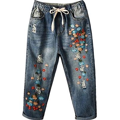 HOSDWomen Jeans Embroidery Mini Flower Elastic Waist Light Blue by HOSD