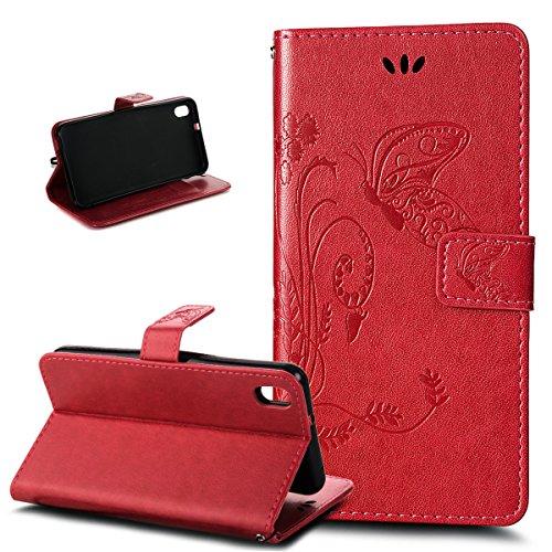 Kompatibel mit HTC Desire 816 Hülle,HTC Desire 816 Schutzhülle,Prägung Groß Schmetterling Blumen PU Lederhülle Flip Hülle Ständer Karten Slot Wallet Tasche Hülle Schutzhülle für HTC Desire 816,Rot
