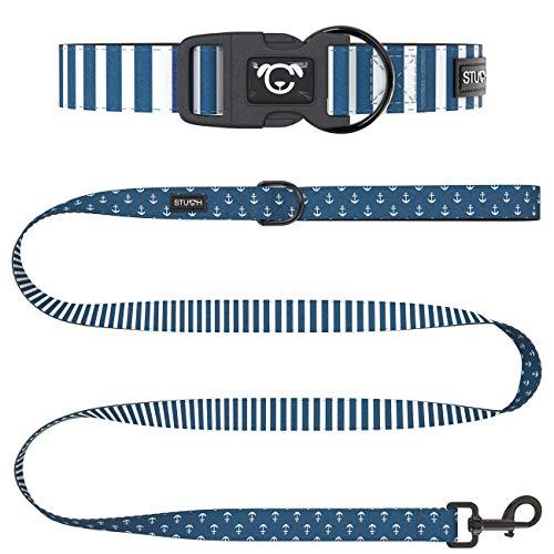 STUCH ® Hundeleine + Halsband Set - Duo Style - Verstellbares Hundehalsband aus Nylon - gepolsterte Handgriffe (M (32-46cm), Blau (Anker))
