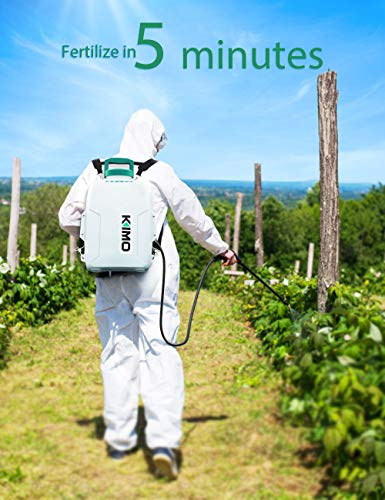 Battery Powered Backpack Sprayer, KIMO 3 Gallon Garden Sprayer w/ 2.0Ah Battery for Long Time Spray, 2 Extended Wands, No Manual Pumping Required Electric Sprayer for Weeding, Spraying, Cleaning