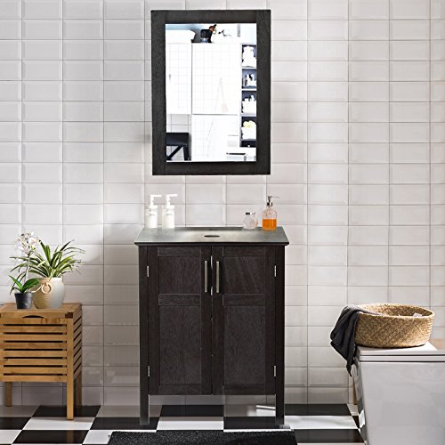 AECOJOY 24 Inches Bathroom Cabinet with Mirror, Espresso Wood Vanity Units, Morden Sink Stand...