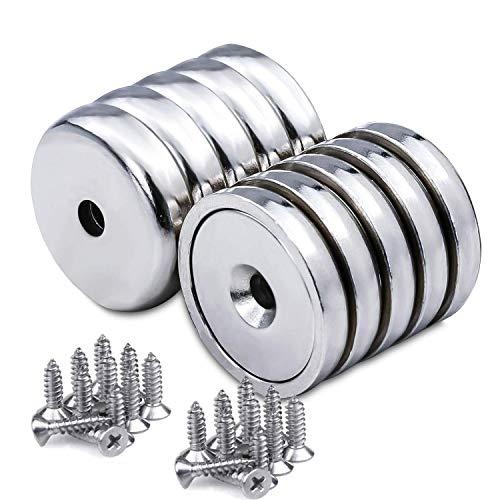 10 Stück Scheiben Magnete Stark, 12 KG Zugkraft 32 x 5.5 mm Magnete Zum Schrauben, Neodym Disc Senkkopf Stark Loch Magnete mit 10 Schrauben für DIY Craft, Handwerk