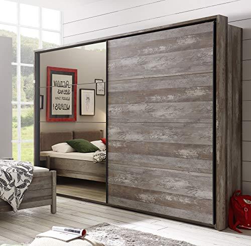 58-718-05 MOON Driftwood/Bronzespiegel Kleiderschrank Schiebetürenschrank Schwebetürenschrank ca. 270 cm