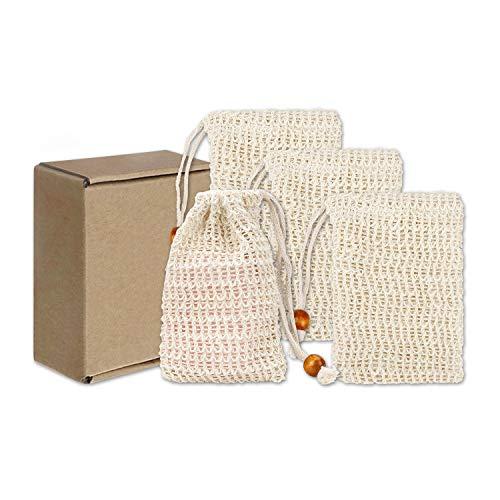 Bolsa de Jabón Natural Red de Jabón de Sisal Sacos de Jabón con Cuerda para Fundas Espumar Exfoliación Masaje Cuidado de la Piel y Secar Jabones 4 Piezas