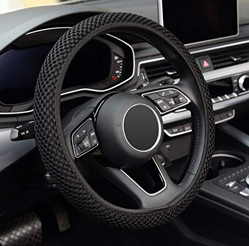 ZHOL Universal 15 inch Steering Wheel Cover Elastic Ice Silk, Breathable, Anti-Slip, Odorless, Warm in Winter and Cool in Summer, Black Color