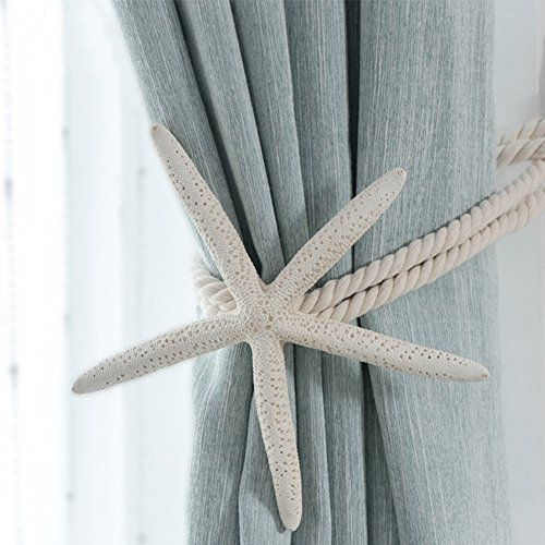 CHICTIE 2 Pieces Natural Starfish Curtain Tiebacks Rope Drape Cotton Tie Band Drapery Holdbacks Beige White Room Décor for Indoor/Outdoor