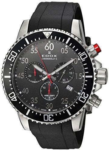 Edox Herren Chronograph Quarz Uhr mit Gummi Armband 10227-3CA-NBN