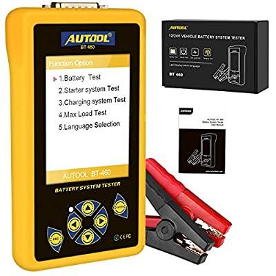 "Autool Car Battery Tester 4"" LCD Display 12V /24V Car Auto Battery Load Tester on Cranking System and Charging System Scan Tool for All Cars?Trucks, SUV from Autool"