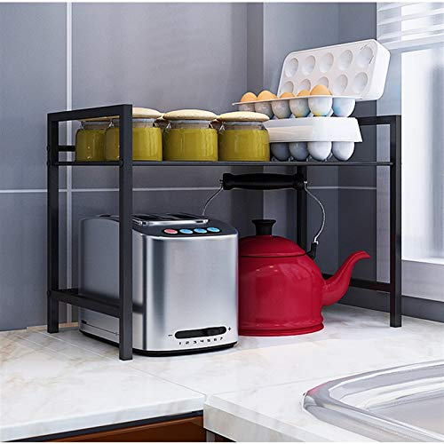 LYQQQQ Almacenamiento De Cocina Soporte de Almacenamiento de condimento de Estante para el hogar Soporte de Almacenamiento de Piso Doble 50x35x37cm (Color : Black, Size : 60cm)