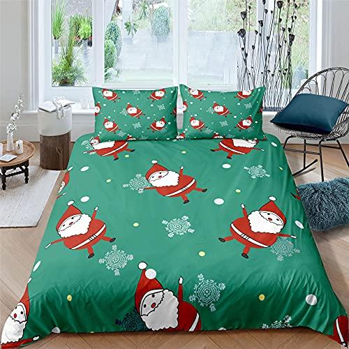 dsgsd Juego de Funda de edredón, Microfibra Supersuave Verde Santa Claus Copos de Nieve Cama Individual: 150x220cm Juego de Ropa de Cama de Estilo Simple a la Moda de 3 Piezas, Juego de sábanas de ed