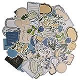 Vintage Scrapbooking Stickers Set (100 Pieces) Flower Floral Sticker Blue Color Adhesive Label Sticky Notes Decoration for Scrapbook Manuscript Planner Diary Envelope Journaling