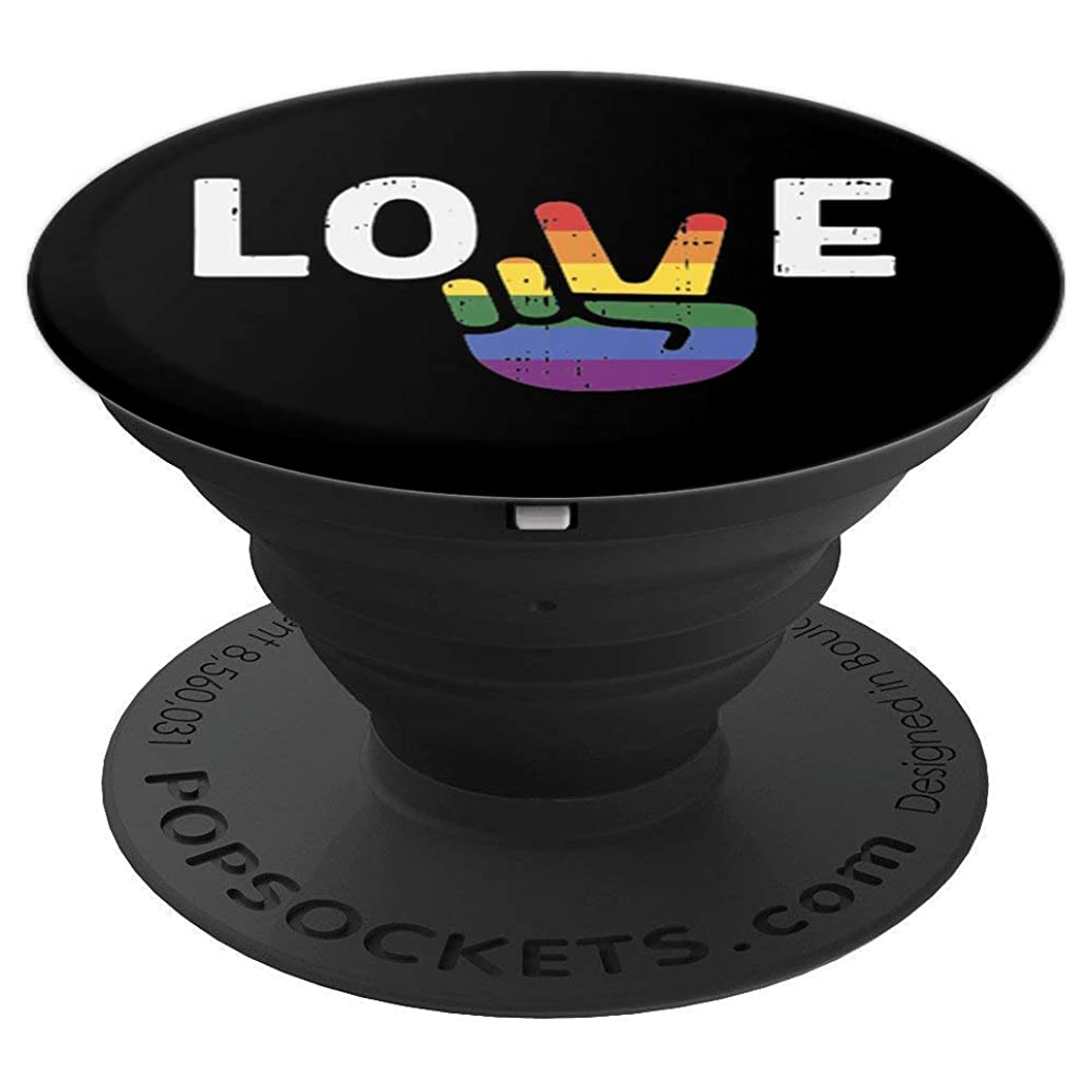 Love Funny Peace Sign Hand Gay LGBT Pride Month Support Gift - PopSockets Grip and Stand for Phones and Tablets