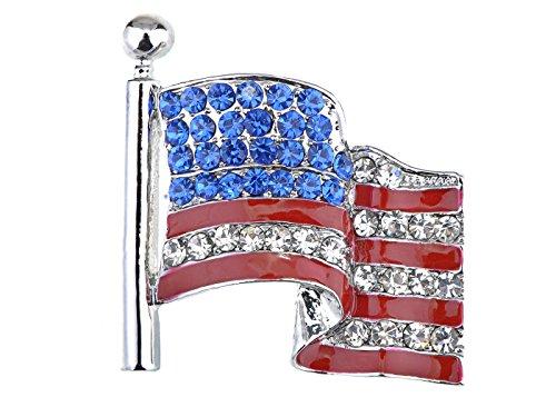 Alilang America USA Patriottische Amerikaanse Rood Wit Blauw Kristal Strass Waving Vlag Broche Pin