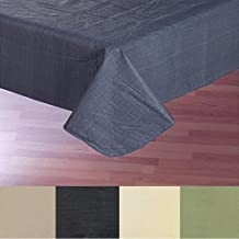 Carnation Home Fashions Vinyl Tablecloth with Polyester Flannel Backing, 52, 90-Inch, Slate