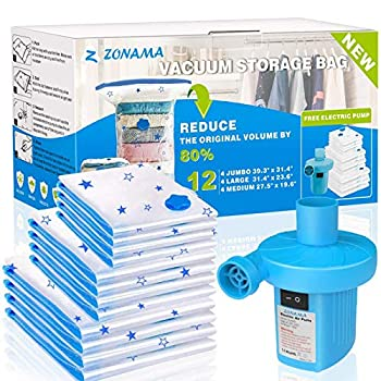 Vacuum Storage Bags with Electric Air Pump 12 Pack  4 Jumbo 4 Large 4 Medium  Reusable Vacuum Compression Space Saver Bags for Clothes Mattress Blanket Duvets Pillows Comforters Quilt Travel