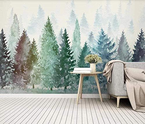 Papier Peint Intissé Tapisserie Murales Panoramique 3D Peinture Murale Aquarelle De Forêt Brumeuse Peinte À La Main Papier Peint Chambre Enfant Adulte Poster Geant Mural
