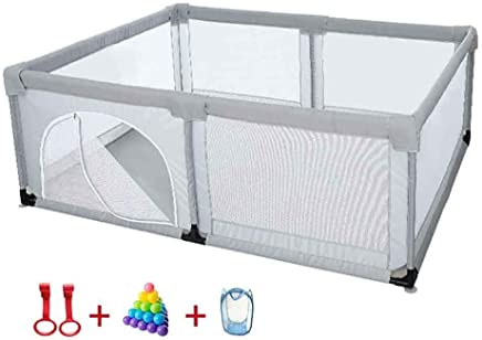 XHJYWL Playpen Baby Infant with Crawling Mat  amp  Balls  Indoor Safety Play Pen Kids Game Fence  Anti-rollover 70cm Height  Size 200x120cm