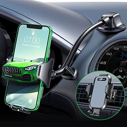 VANMASS Handyhalterung Auto Bombenfest 100{dbb0068e011d6e7399fd68a5e89adfce5bd253dee1f7a39bbcafa5465b96f3b6} Silikon-Gepolstert Handyhalter Auto 3 in 1 Flexibel Saugnapf & Lüftung Kfz Handyhalterung mit Extra Stütze Universal Für Alle Handy iPhone Samsung Huawei LG