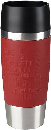 Emsa 513359 旅行杯隔热饮水杯带快速压合,360 毫升 红色 0.36 L 513356