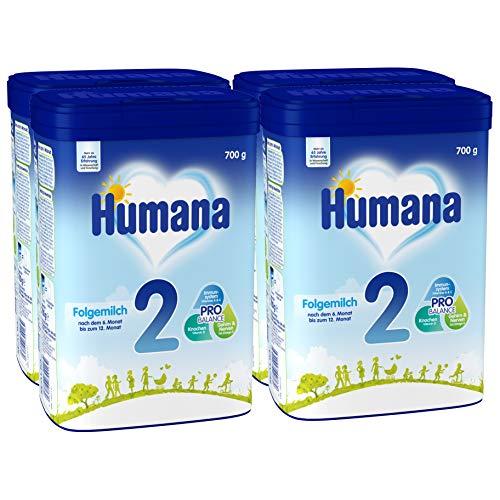 Humana Folgemilch 2, Babynahrung im Anschluss an Das Stillen, mit Vitamin A, C & D, ohne Stärke, Nach dem 6. Monat, 4er Pack (4 x 700 g)