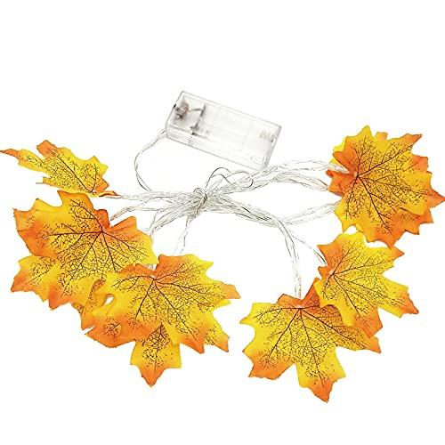 CAETNY Halloween Decorações com cordas de luz Decorações de outono 10/20 Folha de Bordo Luzes de fada Luzes de fada Luzes de jardim Luzes externas Coroa de outono Coroa de outono Guirlanda d