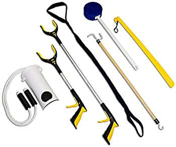 RMS 7-Piece Hip Knee Replacement Kit with Leg Lifter 19 and 32 inch Rotating Reacher Grabber Long Handle Shoe Horn Sock Aid Dressing Stick Bath Sponge - Ideal for Knee or Back Surgery Recovery