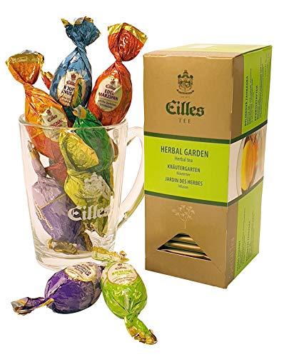 Ostergeschenkset mit Pralineneiern, Tee und Designerglas von Eilles
