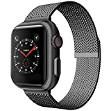 Metal Mesh Strap for Apple Watch Strap 38mm 40mm 42mm 44mm, Stainless Steel Loop Replacement Wristband for iWatch Series 6/5/4/3/2/1 Bracelet with Magnetic Closure Women Men (Black, 38MM/40MM)
