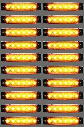 24/7Auto L0051Y24 Lot De 20 Balises Latérales/Arrières Lumineuses À Led Pour Camion, Remorque, Caravane 24 V Orange