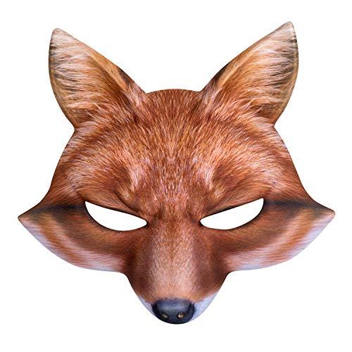 Boland 56732 - Halbmaske Fuchs, one size, realistischer Druck auf Polyester/EVA, Gummizug, Karneval, Halloween, Fasching, Mottoparty, Kostüm, Theater, Verkleidung, Accessoire