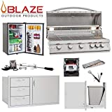 Blaze LTE 5-Burner 40' Natural Gas Grill w/Stainless Front Fridge, Door and Drawer Combo, Narrow Trash Drawer, Rotisserie Kit, Smoker Box, Grill Cover & 5in1 BBQ Tool
