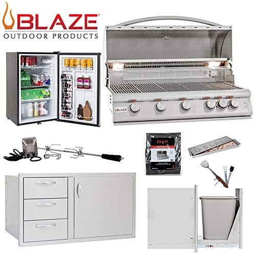 "Blaze LTE 5-Burner 40"" Natural Gas Grill w/Stainless Front Fridge, Door and Drawer Combo, Narrow Trash Drawer, Rotisserie Kit, Smoker Box, Grill Cover & 5in1 BBQ Tool Gas Grills Natural"